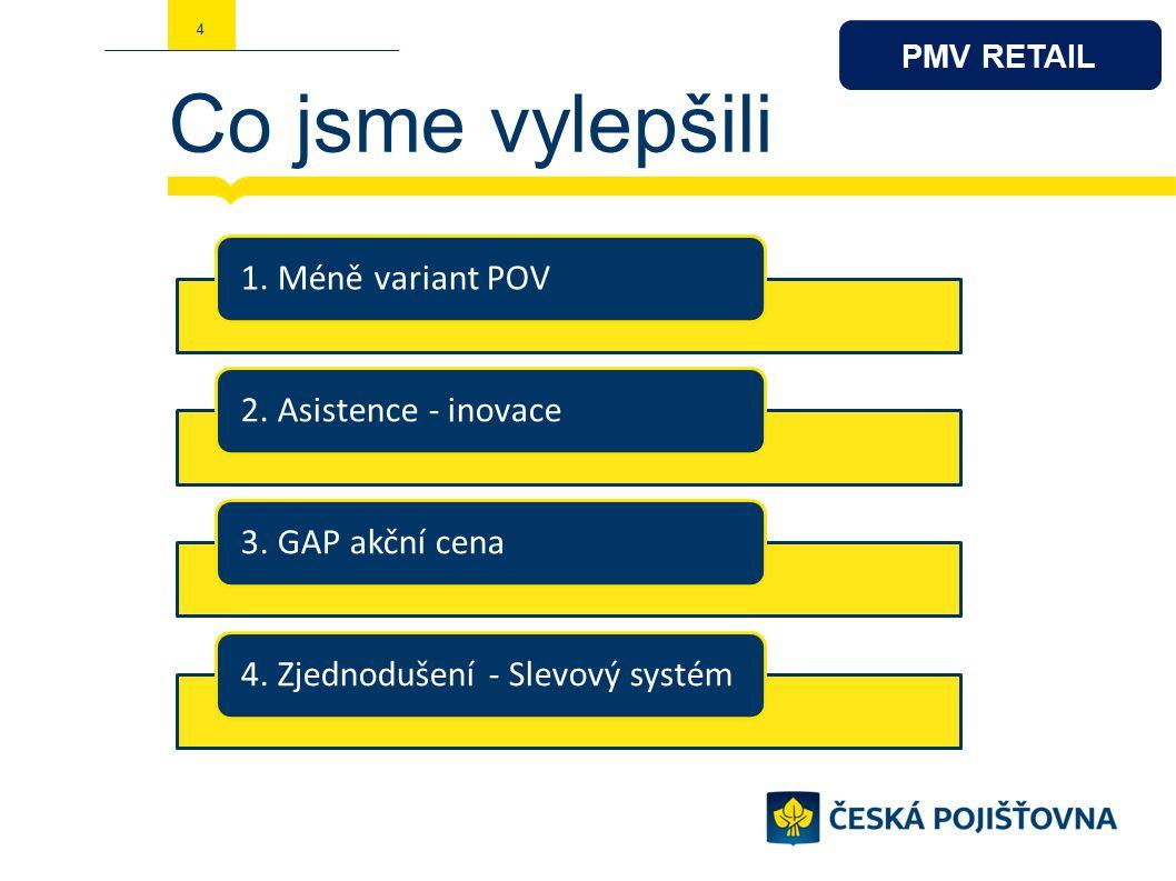 Co jsme vylepšili 4 1. Méně variant POV2. Asistence - inovace3.