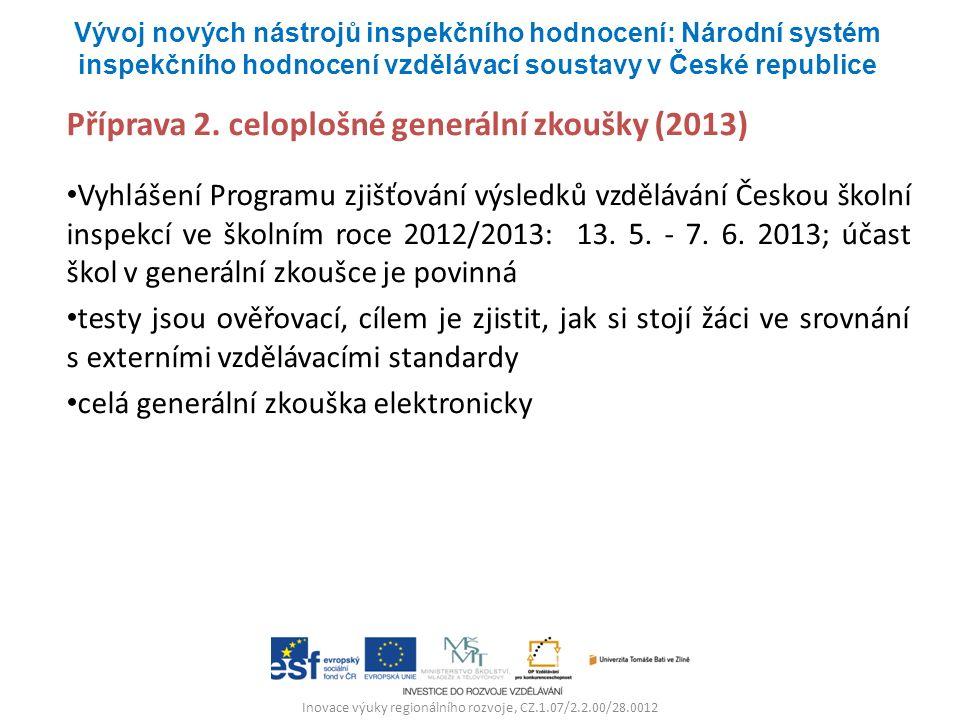 Inovace výuky regionálního rozvoje, CZ.1.07/2.2.00/28.0012 Příprava 2. celoplošné generální zkoušky (2013) Vyhlášení Programu zjišťování výsledků vzdě