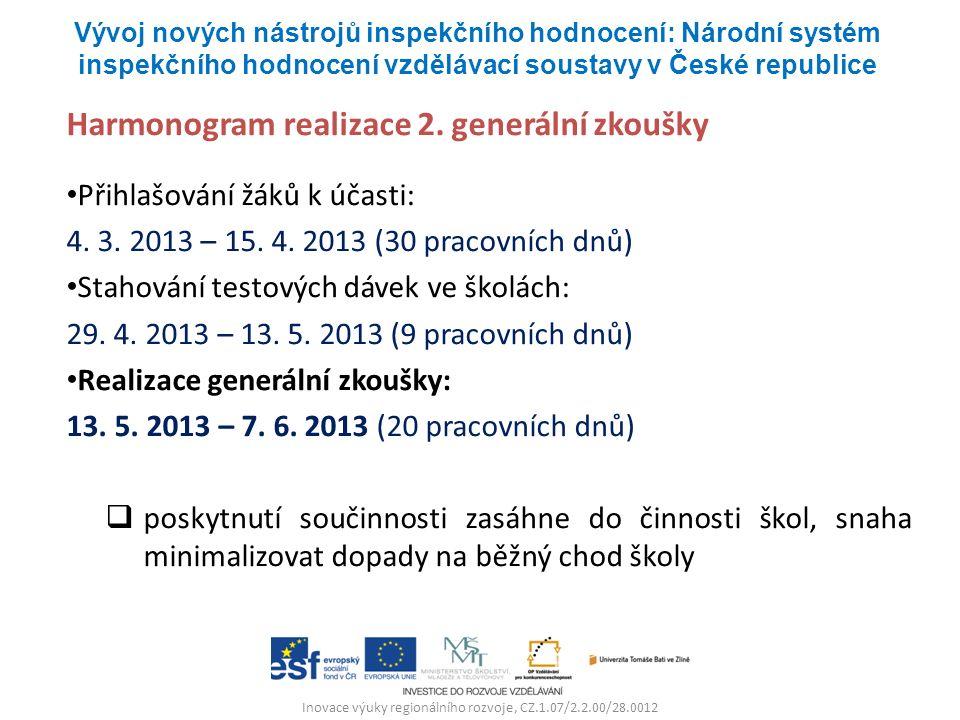 Inovace výuky regionálního rozvoje, CZ.1.07/2.2.00/28.0012 Harmonogram realizace 2. generální zkoušky Přihlašování žáků k účasti: 4. 3. 2013 – 15. 4.