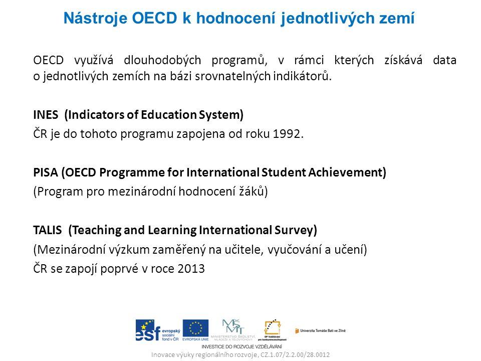 OECD využívá dlouhodobých programů, v rámci kterých získává data o jednotlivých zemích na bázi srovnatelných indikátorů. INES (Indicators of Education