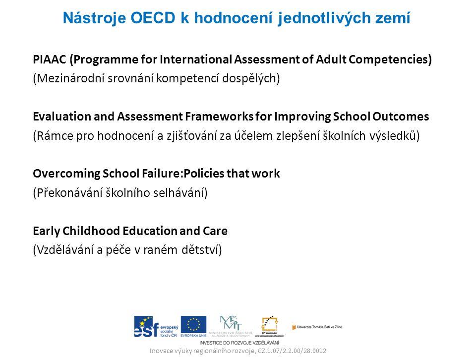 Inovace výuky regionálního rozvoje, CZ.1.07/2.2.00/28.0012 PIAAC (Programme for International Assessment of Adult Competencies) (Mezinárodní srovnání kompetencí dospělých) Evaluation and Assessment Frameworks for Improving School Outcomes (Rámce pro hodnocení a zjišťování za účelem zlepšení školních výsledků) Overcoming School Failure:Policies that work (Překonávání školního selhávání) Early Childhood Education and Care (Vzdělávání a péče v raném dětství) Nástroje OECD k hodnocení jednotlivých zemí
