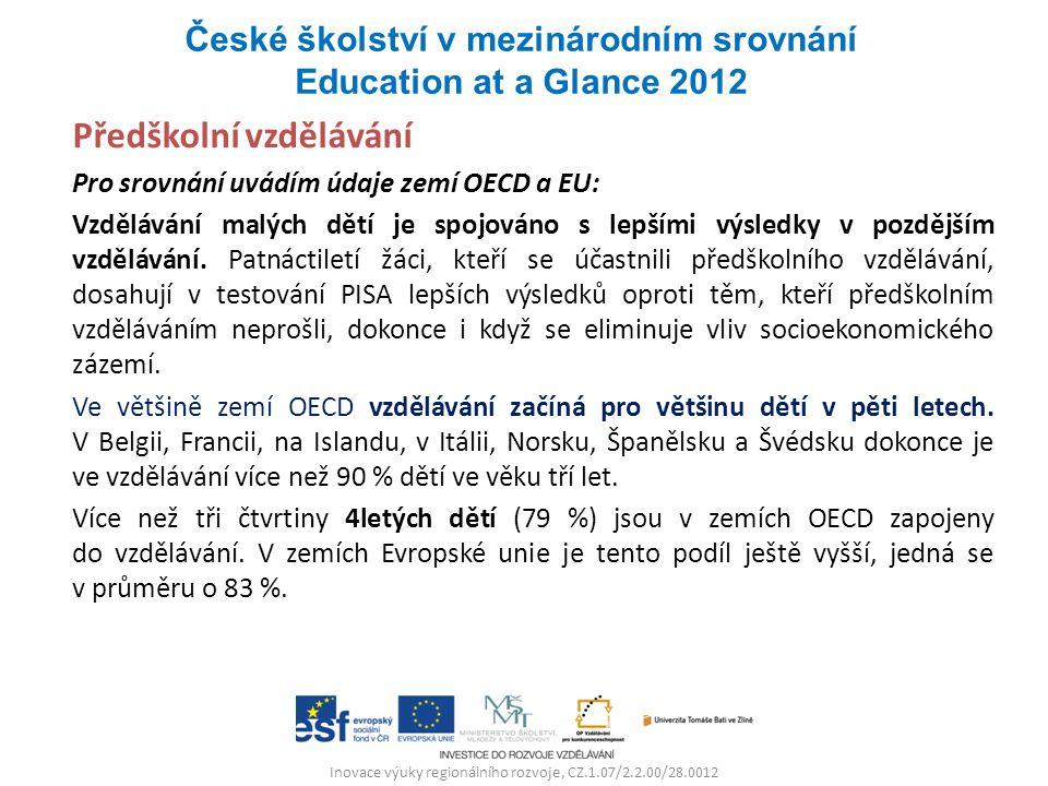 Inovace výuky regionálního rozvoje, CZ.1.07/2.2.00/28.0012 Předškolní vzdělávání Pro srovnání uvádím údaje zemí OECD a EU: Vzdělávání malých dětí je spojováno s lepšími výsledky v pozdějším vzdělávání.