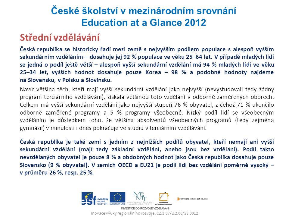 Inovace výuky regionálního rozvoje, CZ.1.07/2.2.00/28.0012 Střední vzdělávání Česká republika se historicky řadí mezi země s nejvyšším podílem populace s alespoň vyšším sekundárním vzděláním – dosahuje jej 92 % populace ve věku 25–64 let.