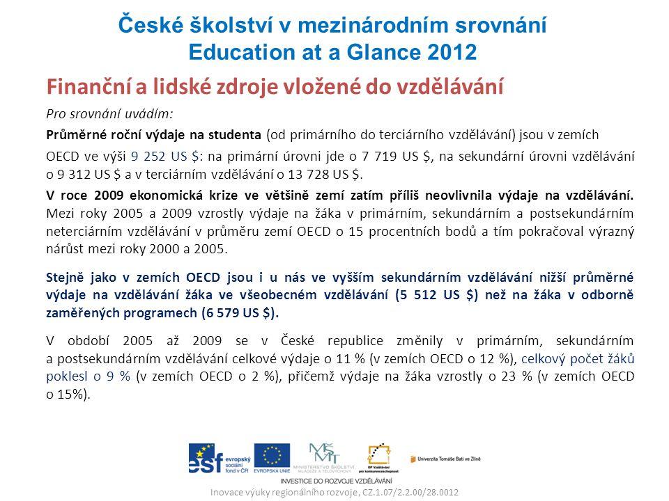 Inovace výuky regionálního rozvoje, CZ.1.07/2.2.00/28.0012 Finanční a lidské zdroje vložené do vzdělávání Pro srovnání uvádím: Průměrné roční výdaje n