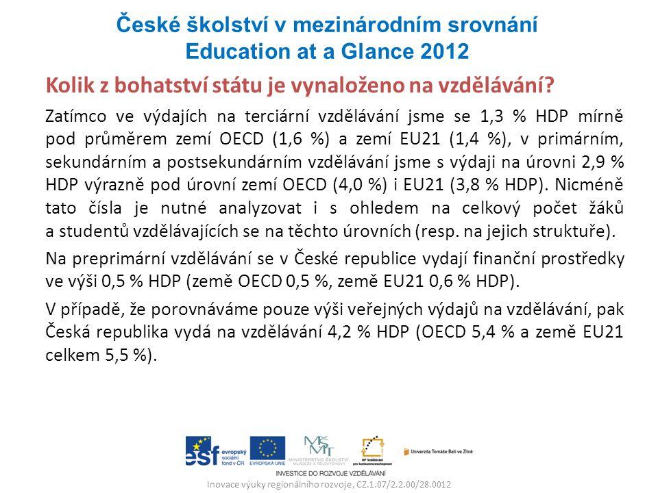 Inovace výuky regionálního rozvoje, CZ.1.07/2.2.00/28.0012 Kolik z bohatství státu je vynaloženo na vzdělávání? Zatímco ve výdajích na terciární vzděl