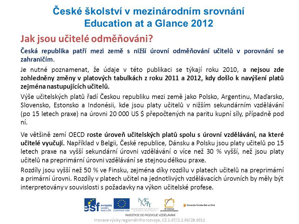 Inovace výuky regionálního rozvoje, CZ.1.07/2.2.00/28.0012 Jak jsou učitelé odměňováni? Česká republika patří mezi země s nižší úrovní odměňování učit