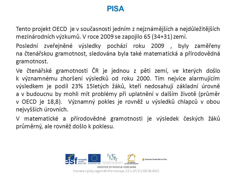 Inovace výuky regionálního rozvoje, CZ.1.07/2.2.00/28.0012 Tento projekt OECD je v současnosti jedním z nejznámějších a nejdůležitějších mezinárodních