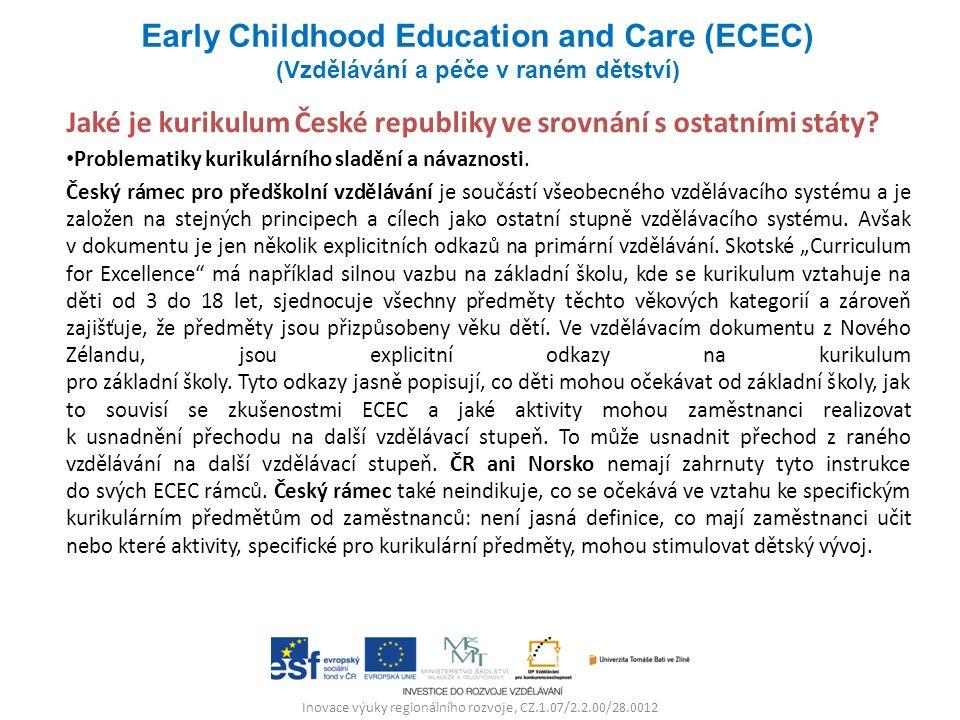 Inovace výuky regionálního rozvoje, CZ.1.07/2.2.00/28.0012 Jaké je kurikulum České republiky ve srovnání s ostatními státy? Problematiky kurikulárního