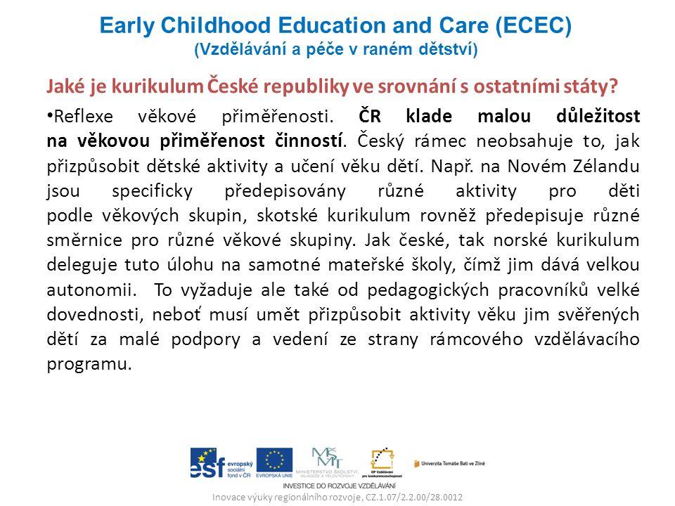 Inovace výuky regionálního rozvoje, CZ.1.07/2.2.00/28.0012 Jaké je kurikulum České republiky ve srovnání s ostatními státy? Reflexe věkové přiměřenost