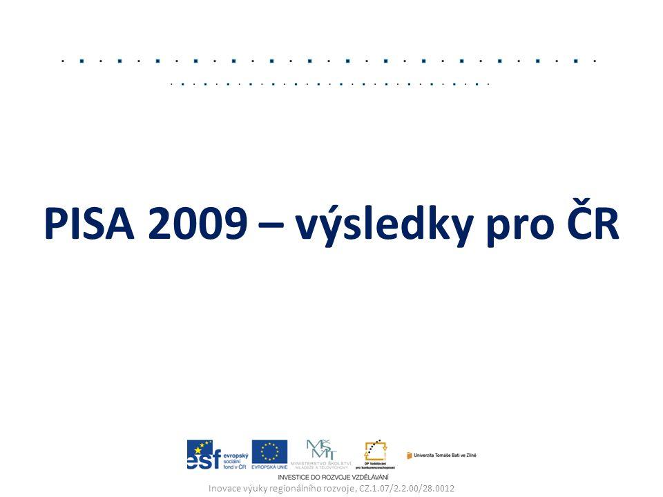 PISA 2009 – výsledky pro ČR Inovace výuky regionálního rozvoje, CZ.1.07/2.2.00/28.0012