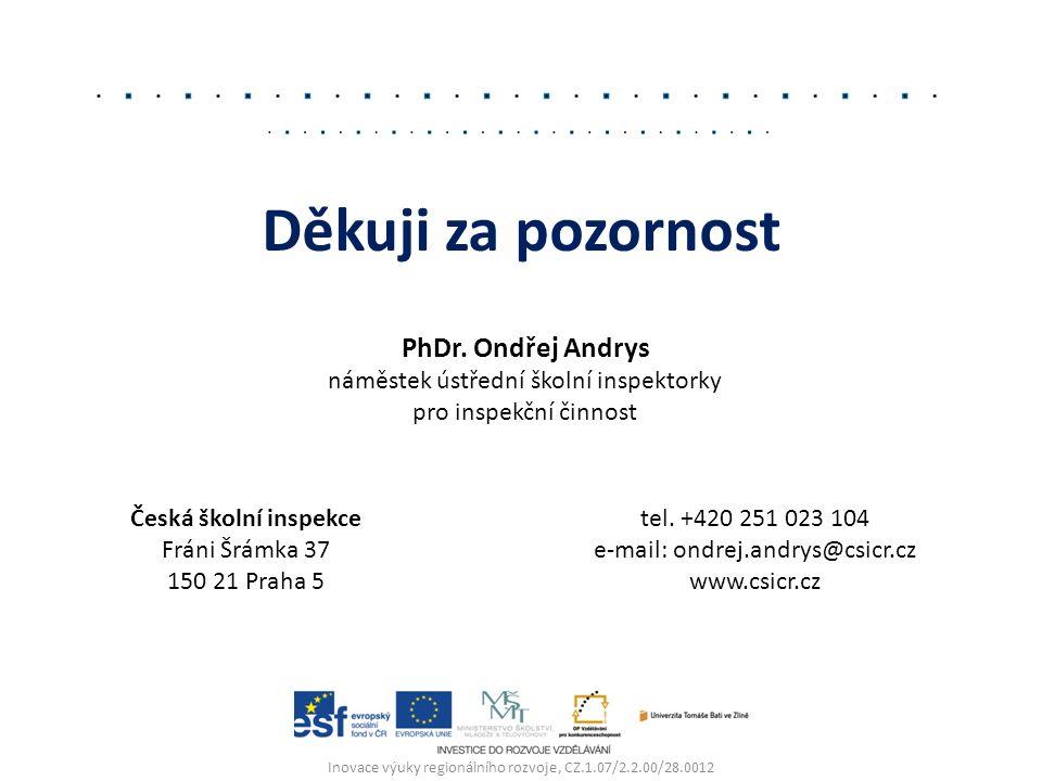 Inovace výuky regionálního rozvoje, CZ.1.07/2.2.00/28.0012 Děkuji za pozornost PhDr. Ondřej Andrys náměstek ústřední školní inspektorky pro inspekční