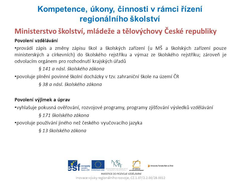 Inovace výuky regionálního rozvoje, CZ.1.07/2.2.00/28.0012 Ministerstvo školství, mládeže a tělovýchovy České republiky Povolení vzdělávání provádí zápis a změny zápisu škol a školských zařízení (u MŠ a školských zařízení pouze ministerských a církevních) do školského rejstříku a výmaz ze školského rejstříku; zároveň je odvolacím orgánem pro rozhodnutí krajských úřadů § 141 a násl.