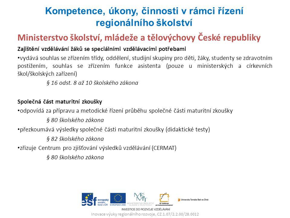 Inovace výuky regionálního rozvoje, CZ.1.07/2.2.00/28.0012 Ministerstvo školství, mládeže a tělovýchovy České republiky Zajištění vzdělávání žáků se s