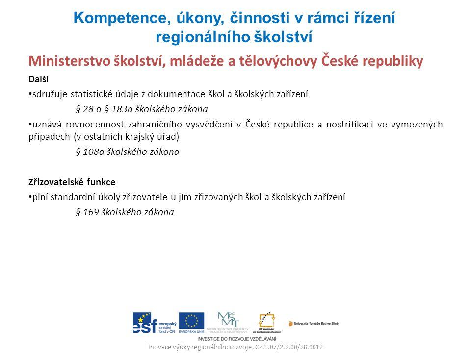 Inovace výuky regionálního rozvoje, CZ.1.07/2.2.00/28.0012 Ministerstvo školství, mládeže a tělovýchovy České republiky Další sdružuje statistické úda