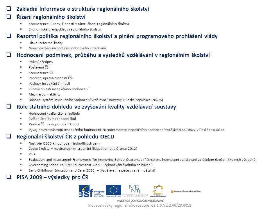Inovace výuky regionálního rozvoje, CZ.1.07/2.2.00/28.0012  Základní informace o struktuře regionálního školství  Řízení regionálního školství  Kompetence, úkony, činnosti v rámci řízení regionálního školství  Ekonomické předpoklady regionálního školství  Rezortní politika regionálního školství a plnění programového prohlášení vlády  Hlavní reformní kroky  Nová opatření na podporu odborného vzdělávání  Hodnocení podmínek, průběhu a výsledků vzdělávání v regionálním školství  Právní předpisy  Postavení ČŠI  Kompetence ČŠI  Procesní úprava činnosti ČŠI  Výstupy inspekční činnosti  Klíčové oblasti inspekčního hodnocení  Mezinárodní aktivity  Národní systém inspekčního hodnocení vzdělávací soustavy v České republice (NIQES)  Role státního dohledu ve zvyšování kvality vzdělávací soustavy  Hodnocení kvality škol a ředitelů  Zvýšení kvality hodnocení škol  Reakce ČŠI na doporučení OECD  Vývoj nových nástrojů inspekčního hodnocení: Národní systém inspekčního hodnocení vzdělávací soustavy v České republice  Regionální školství ČR z pohledu OECD  Nástroje OECD k hodnocení jednotlivých zemí  České školství v mezinárodním srovnání (Education at a Glance 2012)  PISA  Evaluation and Assessment Frameworks for Improving School Outcomes (Rámce pro hodnocení a zjišťování za účelem zlepšení školních výsledků)  Overcoming School Failure: Policies that work (Překonávání školního selhávání)  Early Childhood Education and Care (ECEC) – (Vzdělávání a péče v raném dětství)  PISA 2009 – výsledky pro ČR