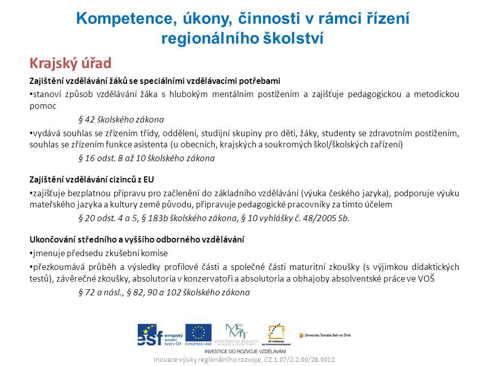 Inovace výuky regionálního rozvoje, CZ.1.07/2.2.00/28.0012 Krajský úřad Zajištění vzdělávání žáků se speciálními vzdělávacími potřebami stanoví způsob