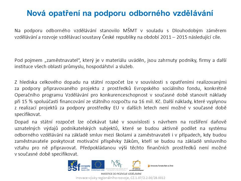 Inovace výuky regionálního rozvoje, CZ.1.07/2.2.00/28.0012 Na podporu odborného vzdělávání stanovilo MŠMT v souladu s Dlouhodobým záměrem vzdělávání a rozvoje vzdělávací soustavy České republiky na období 2011 – 2015 následující cíle.