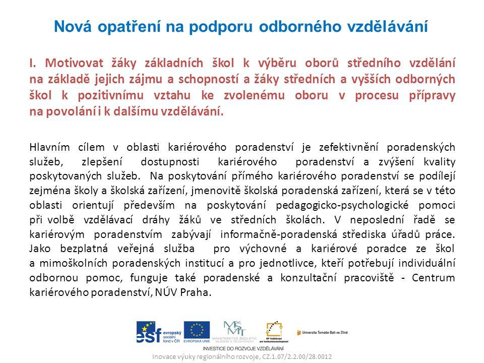 Inovace výuky regionálního rozvoje, CZ.1.07/2.2.00/28.0012 I. Motivovat žáky základních škol k výběru oborů středního vzdělání na základě jejich zájmu