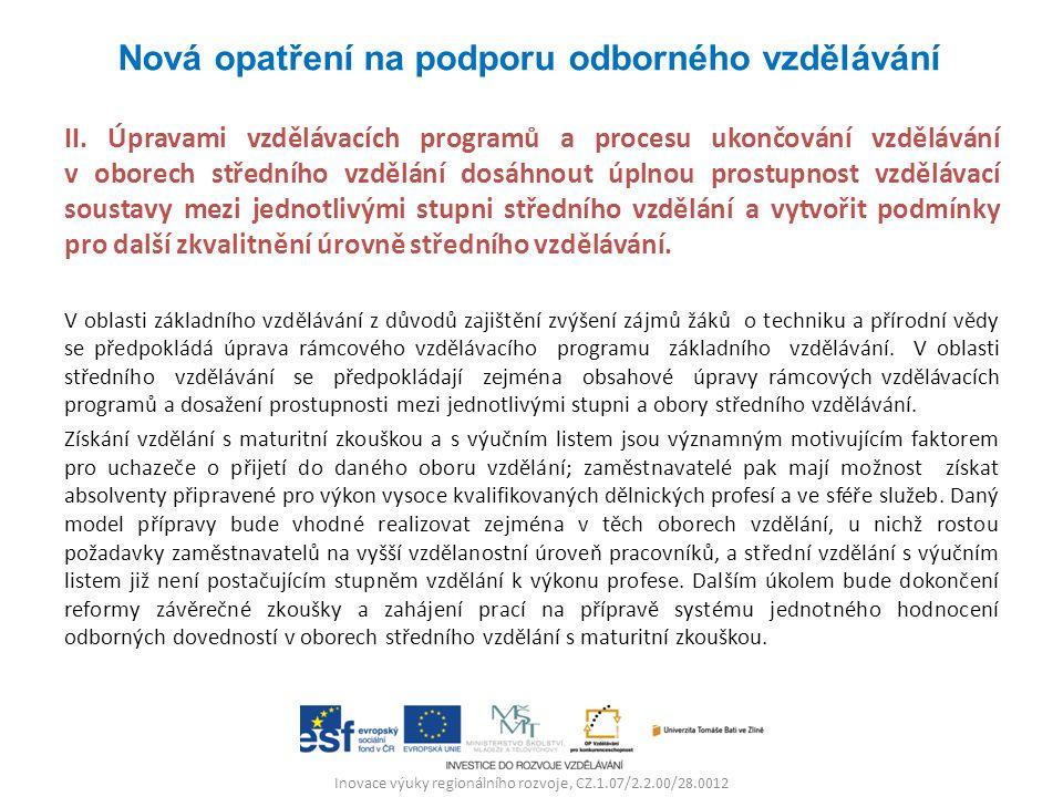 Inovace výuky regionálního rozvoje, CZ.1.07/2.2.00/28.0012 II. Úpravami vzdělávacích programů a procesu ukončování vzdělávání v oborech středního vzdě
