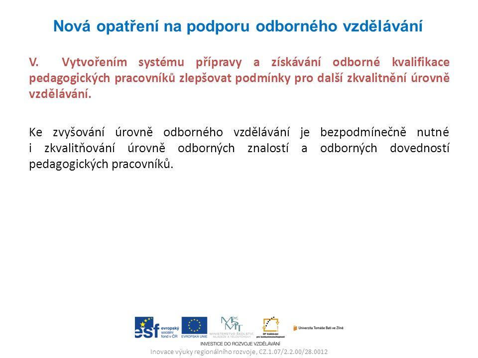 Inovace výuky regionálního rozvoje, CZ.1.07/2.2.00/28.0012 V. Vytvořením systému přípravy a získávání odborné kvalifikace pedagogických pracovníků zle