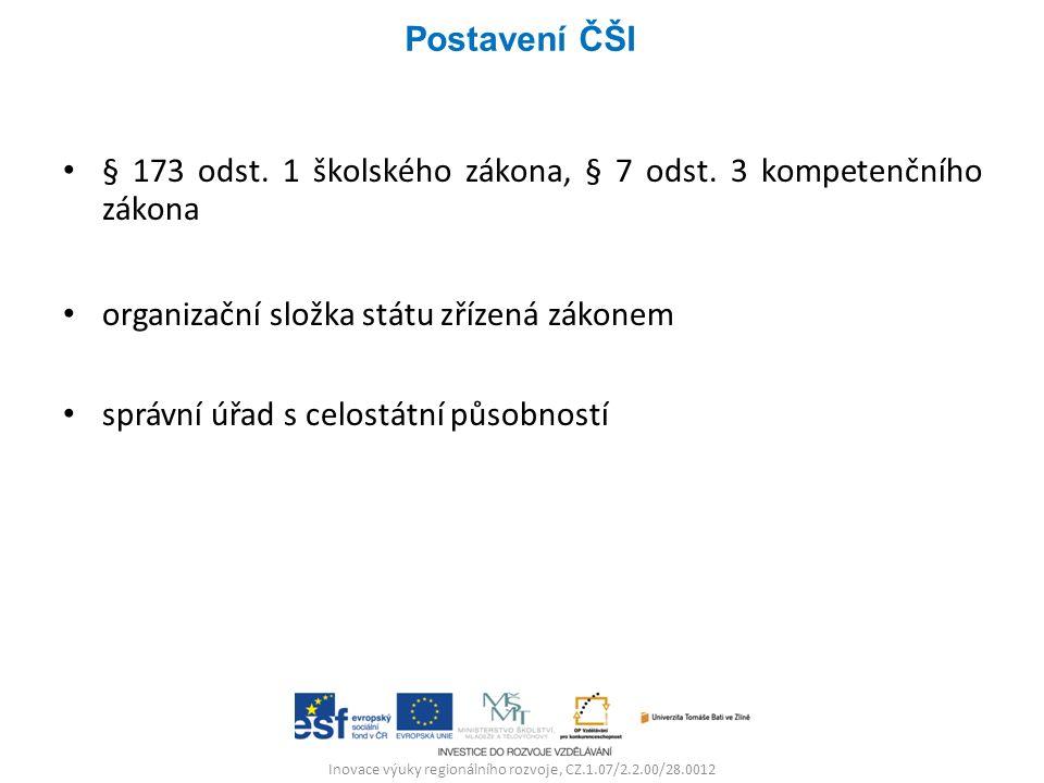 Inovace výuky regionálního rozvoje, CZ.1.07/2.2.00/28.0012 § 173 odst. 1 školského zákona, § 7 odst. 3 kompetenčního zákona organizační složka státu z