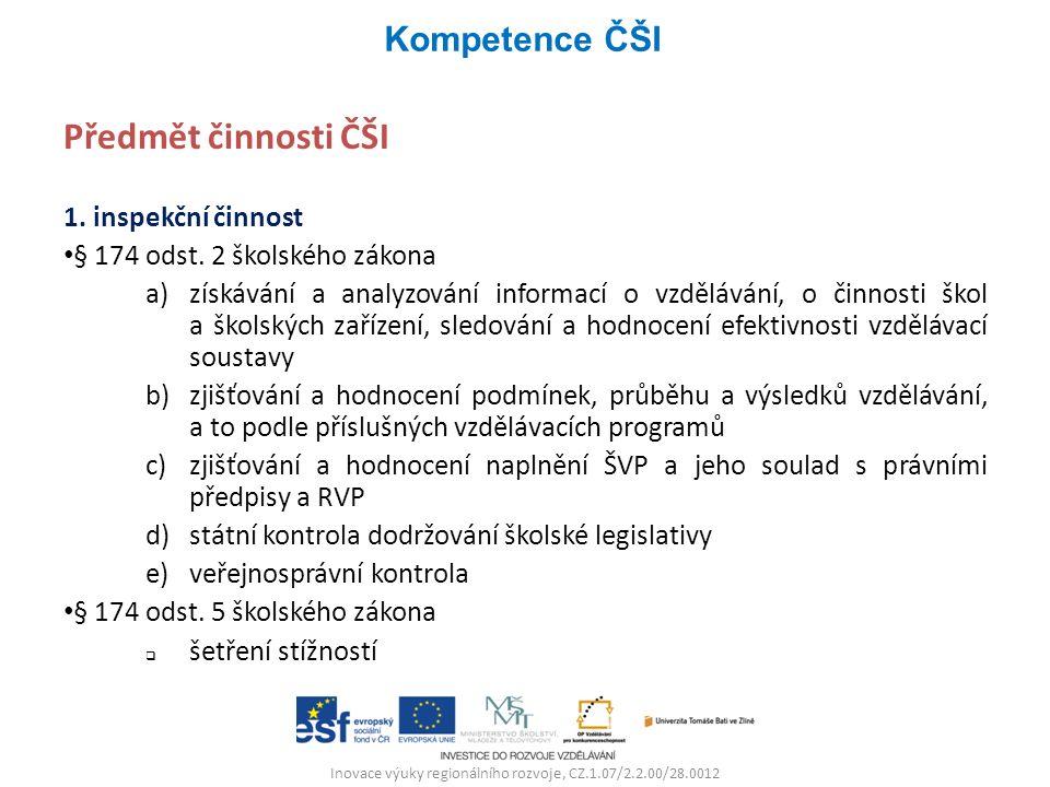 Inovace výuky regionálního rozvoje, CZ.1.07/2.2.00/28.0012 Předmět činnosti ČŠI 1. inspekční činnost § 174 odst. 2 školského zákona a)získávání a anal