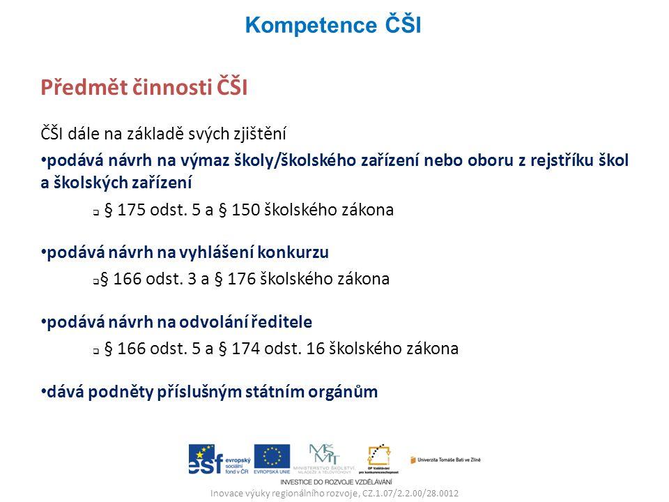 Inovace výuky regionálního rozvoje, CZ.1.07/2.2.00/28.0012 Předmět činnosti ČŠI ČŠI dále na základě svých zjištění podává návrh na výmaz školy/školské
