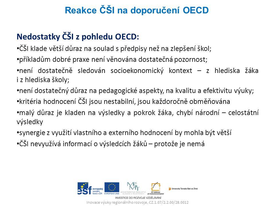 Inovace výuky regionálního rozvoje, CZ.1.07/2.2.00/28.0012 Nedostatky ČŠI z pohledu OECD: ČŠI klade větší důraz na soulad s předpisy než na zlepšení škol; příkladům dobré praxe není věnována dostatečná pozornost; není dostatečně sledován socioekonomický kontext – z hlediska žáka i z hlediska školy; není dostatečný důraz na pedagogické aspekty, na kvalitu a efektivitu výuky; kritéria hodnocení ČŠI jsou nestabilní, jsou každoročně obměňována malý důraz je kladen na výsledky a pokrok žáka, chybí národní – celostátní výsledky synergie z využití vlastního a externího hodnocení by mohla být větší ČŠI nevyužívá informací o výsledcích žáků – protože je nemá Reakce ČŠI na doporučení OECD