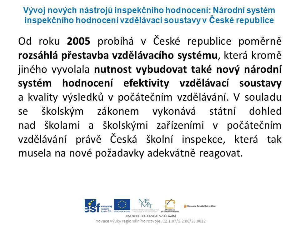 Inovace výuky regionálního rozvoje, CZ.1.07/2.2.00/28.0012 Od roku 2005 probíhá v České republice poměrně rozsáhlá přestavba vzdělávacího systému, kte