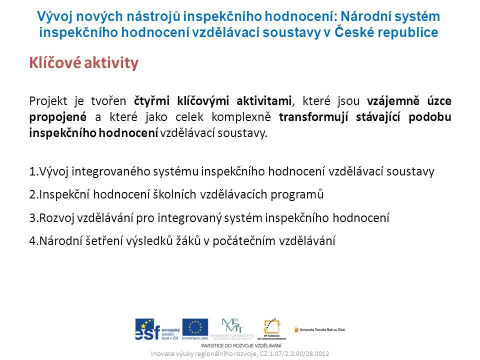 Inovace výuky regionálního rozvoje, CZ.1.07/2.2.00/28.0012 Klíčové aktivity Projekt je tvořen čtyřmi klíčovými aktivitami, které jsou vzájemně úzce propojené a které jako celek komplexně transformují stávající podobu inspekčního hodnocení vzdělávací soustavy.