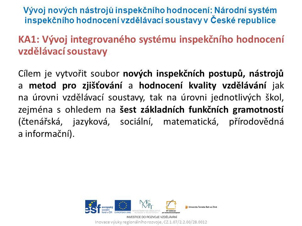 Inovace výuky regionálního rozvoje, CZ.1.07/2.2.00/28.0012 KA1: Vývoj integrovaného systému inspekčního hodnocení vzdělávací soustavy Cílem je vytvoři