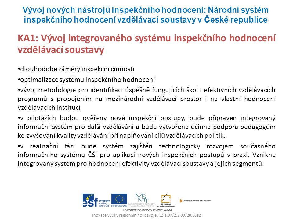 Inovace výuky regionálního rozvoje, CZ.1.07/2.2.00/28.0012 KA1: Vývoj integrovaného systému inspekčního hodnocení vzdělávací soustavy dlouhodobé záměr