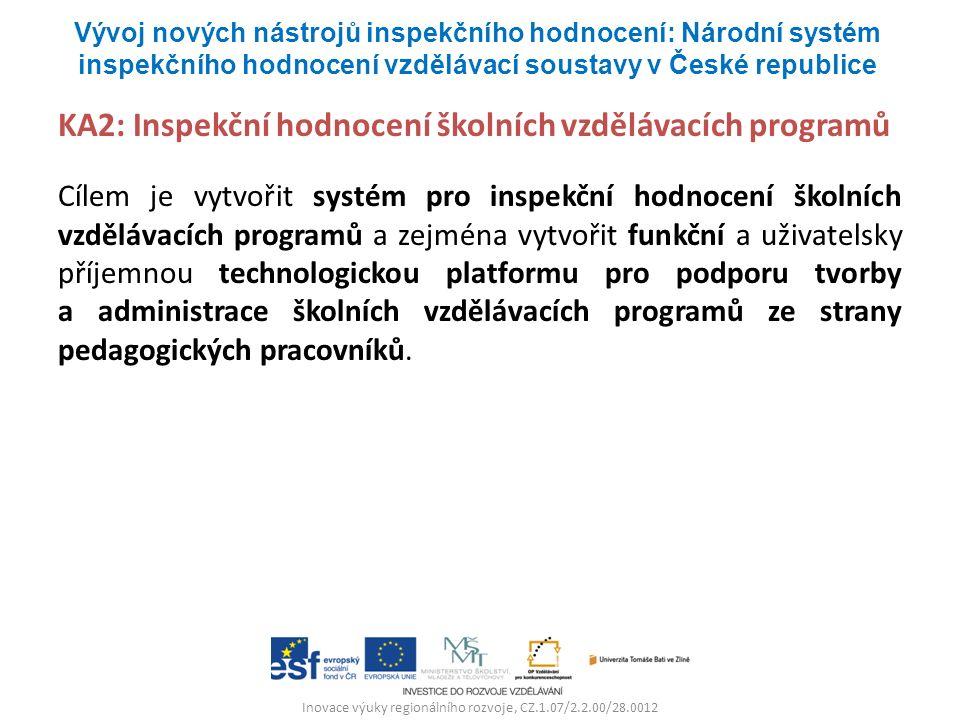 Inovace výuky regionálního rozvoje, CZ.1.07/2.2.00/28.0012 KA2: Inspekční hodnocení školních vzdělávacích programů Cílem je vytvořit systém pro inspekční hodnocení školních vzdělávacích programů a zejména vytvořit funkční a uživatelsky příjemnou technologickou platformu pro podporu tvorby a administrace školních vzdělávacích programů ze strany pedagogických pracovníků.