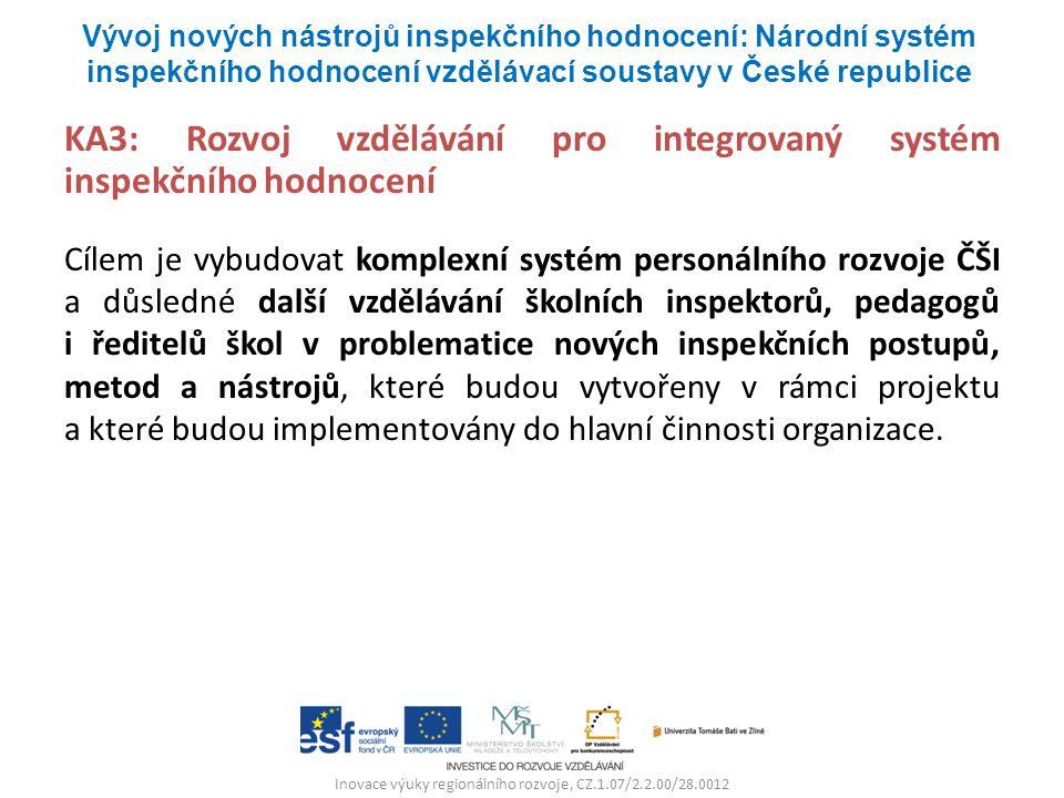 Inovace výuky regionálního rozvoje, CZ.1.07/2.2.00/28.0012 KA3: Rozvoj vzdělávání pro integrovaný systém inspekčního hodnocení Cílem je vybudovat komplexní systém personálního rozvoje ČŠI a důsledné další vzdělávání školních inspektorů, pedagogů i ředitelů škol v problematice nových inspekčních postupů, metod a nástrojů, které budou vytvořeny v rámci projektu a které budou implementovány do hlavní činnosti organizace.