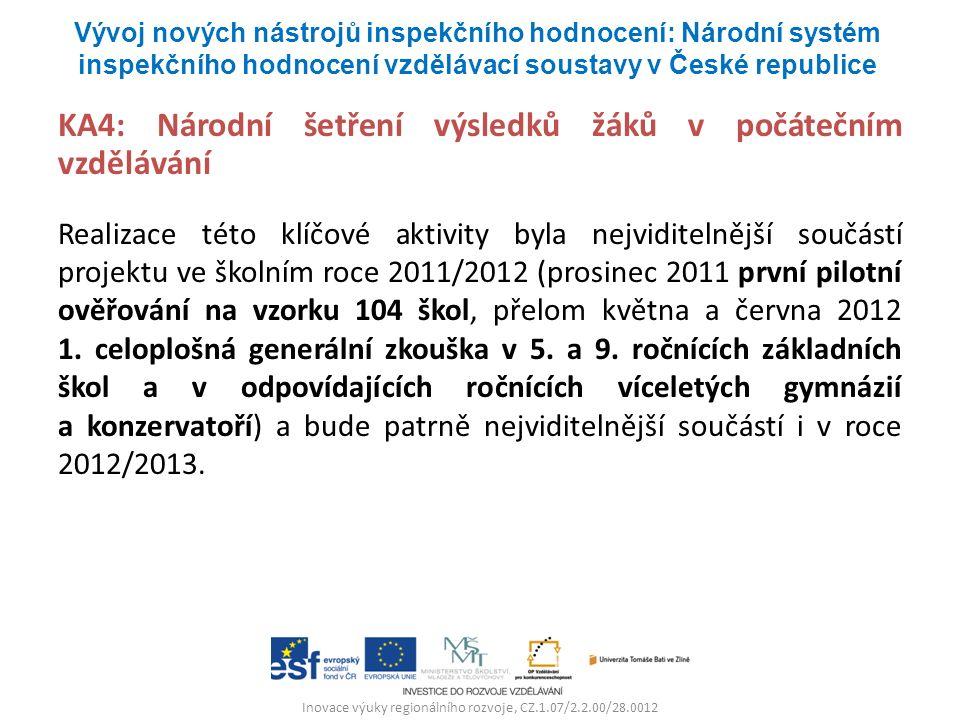 Inovace výuky regionálního rozvoje, CZ.1.07/2.2.00/28.0012 KA4: Národní šetření výsledků žáků v počátečním vzdělávání Realizace této klíčové aktivity byla nejviditelnější součástí projektu ve školním roce 2011/2012 (prosinec 2011 první pilotní ověřování na vzorku 104 škol, přelom května a června 2012 1.