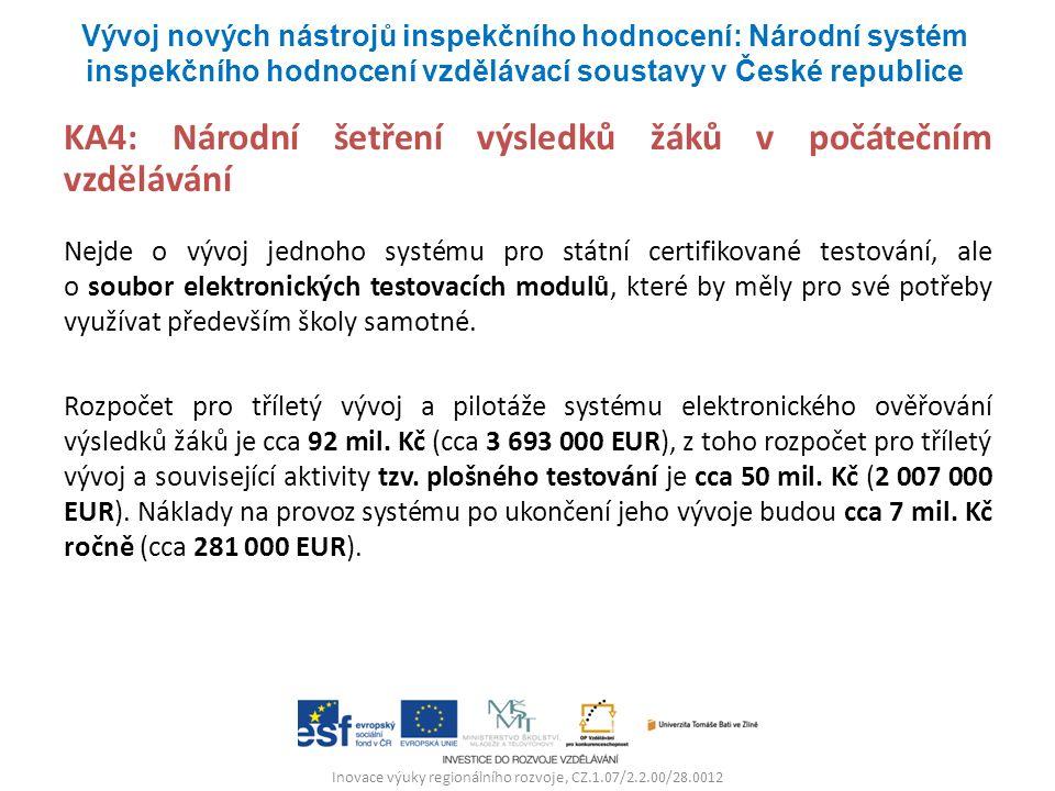 Inovace výuky regionálního rozvoje, CZ.1.07/2.2.00/28.0012 KA4: Národní šetření výsledků žáků v počátečním vzdělávání Nejde o vývoj jednoho systému pr