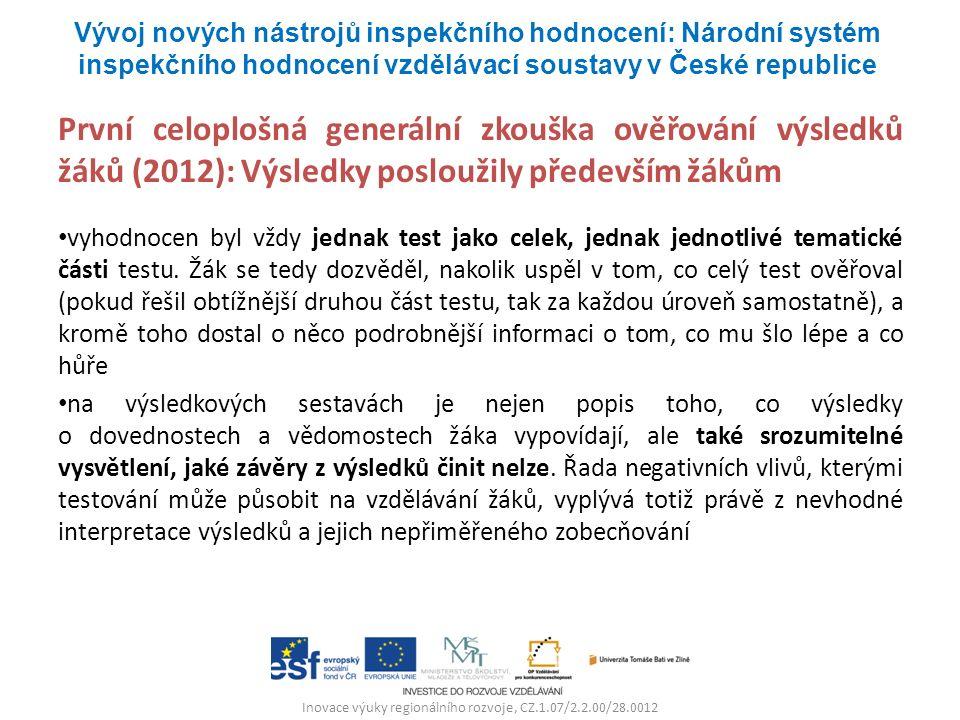 Inovace výuky regionálního rozvoje, CZ.1.07/2.2.00/28.0012 První celoplošná generální zkouška ověřování výsledků žáků (2012): Výsledky posloužily před