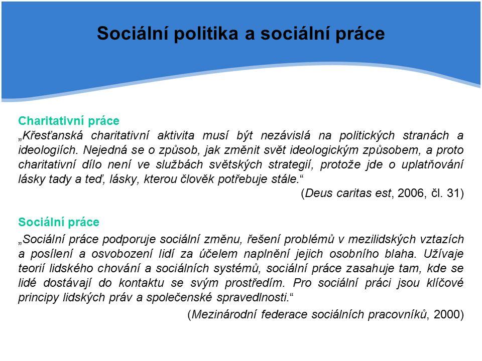 """Sociální politika a sociální práce Charitativní práce """"Křesťanská charitativní aktivita musí být nezávislá na politických stranách a ideologiích."""