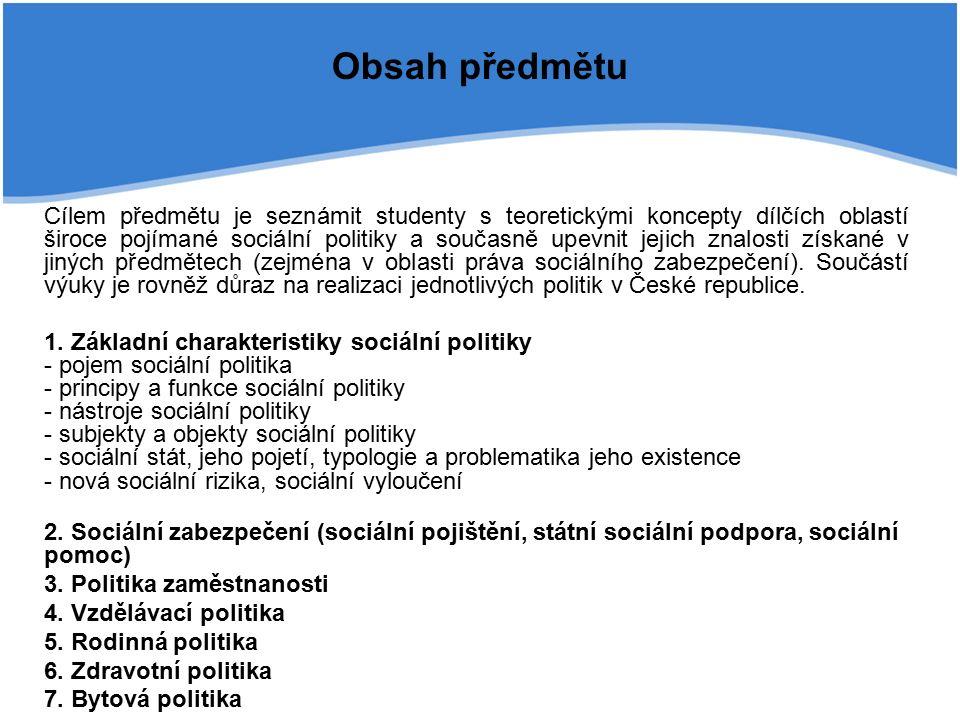 Vznik a vývoj sociálního státu III.