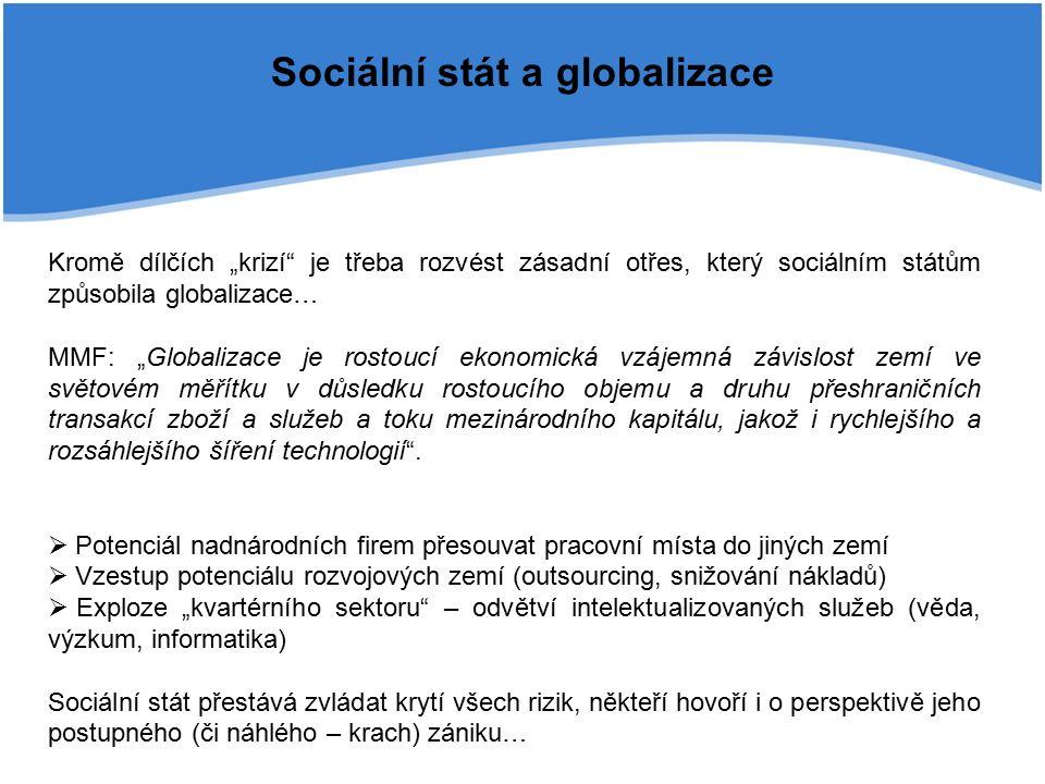 """Sociální stát a globalizace Kromě dílčích """"krizí je třeba rozvést zásadní otřes, který sociálním státům způsobila globalizace… MMF: """"Globalizace je rostoucí ekonomická vzájemná závislost zemí ve světovém měřítku v důsledku rostoucího objemu a druhu přeshraničních transakcí zboží a služeb a toku mezinárodního kapitálu, jakož i rychlejšího a rozsáhlejšího šíření technologií ."""