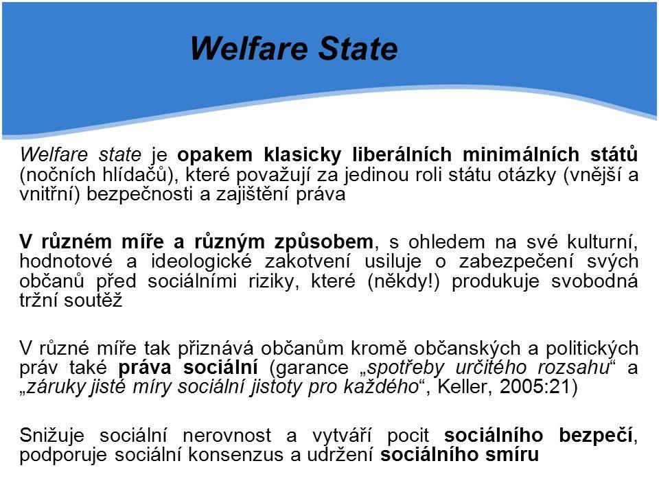 """Welfare State Welfare state je opakem klasicky liberálních minimálních států (nočních hlídačů), které považují za jedinou roli státu otázky (vnější a vnitřní) bezpečnosti a zajištění práva V různém míře a různým způsobem, s ohledem na své kulturní, hodnotové a ideologické zakotvení usiluje o zabezpečení svých občanů před sociálními riziky, které (někdy!) produkuje svobodná tržní soutěž V různé míře tak přiznává občanům kromě občanských a politických práv také práva sociální (garance """"spotřeby určitého rozsahu a """"záruky jisté míry sociální jistoty pro každého , Keller, 2005:21) Snižuje sociální nerovnost a vytváří pocit sociálního bezpečí, podporuje sociální konsenzus a udržení sociálního smíru"""
