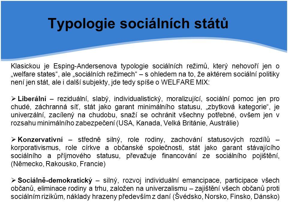 """Typologie sociálních států Klasickou je Esping-Andersenova typologie sociálních režimů, který nehovoří jen o """"welfare states , ale """"sociálních režimech – s ohledem na to, že aktérem sociální politiky není jen stát, ale i další subjekty, jde tedy spíše o WELFARE MIX:  Liberální – reziduální, slabý, individualistický, moralizující, sociální pomoc jen pro chudé, záchranná síť, stát jako garant minimálního statusu, """"zbytková kategorie , je univerzální, zacílený na chudobu, snaží se ochránit všechny potřebné, ovšem jen v rozsahu minimálního zabezpečení (USA, Kanada, Velká Británie, Austrálie)  Konzervativní – středně silný, role rodiny, zachování statusových rozdílů – korporativismus, role církve a občanské společnosti, stát jako garant stávajícího sociálního a příjmového statusu, převažuje financování ze sociálního pojištění, (Německo, Rakousko, Francie)  Sociálně-demokratický – silný, rozvoj individuální emancipace, participace všech občanů, eliminace rodiny a trhu, založen na univerzalismu – zajištění všech občanů proti sociálním rizikům, náklady hrazeny především z daní (Švédsko, Norsko, Finsko, Dánsko)"""