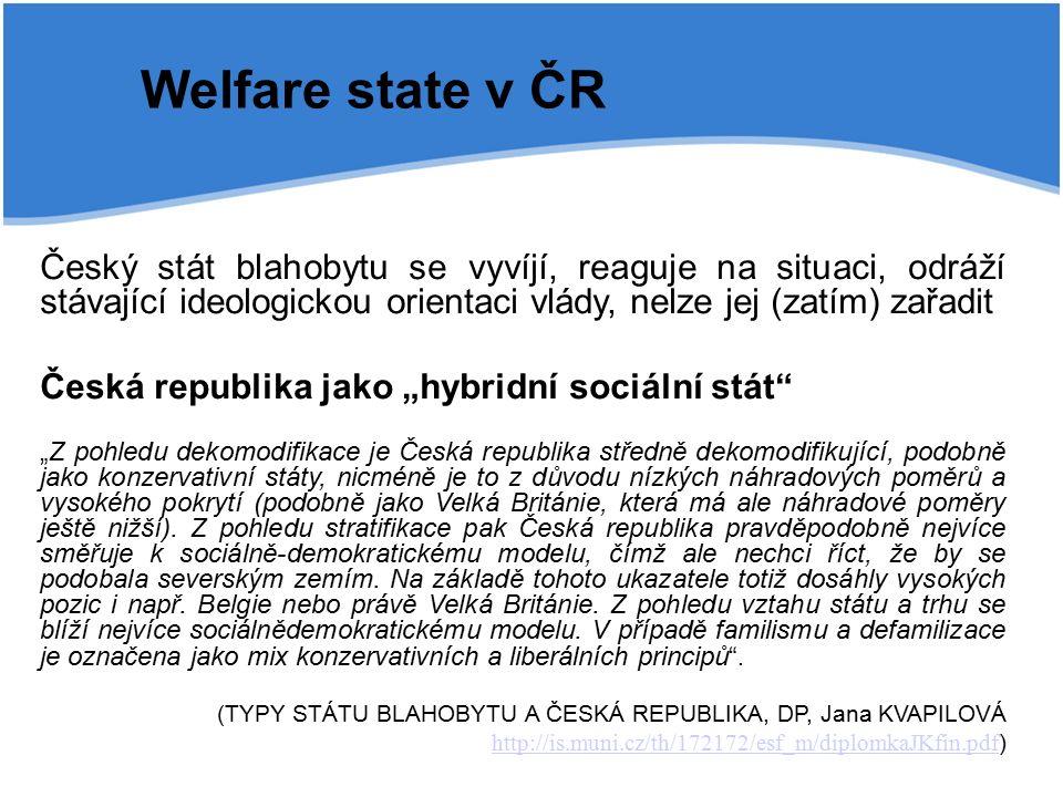 """Welfare state v ČR Český stát blahobytu se vyvíjí, reaguje na situaci, odráží stávající ideologickou orientaci vlády, nelze jej (zatím) zařadit Česká republika jako """"hybridní sociální stát """"Z pohledu dekomodifikace je Česká republika středně dekomodifikující, podobně jako konzervativní státy, nicméně je to z důvodu nízkých náhradových poměrů a vysokého pokrytí (podobně jako Velká Británie, která má ale náhradové poměry ještě nižší)."""