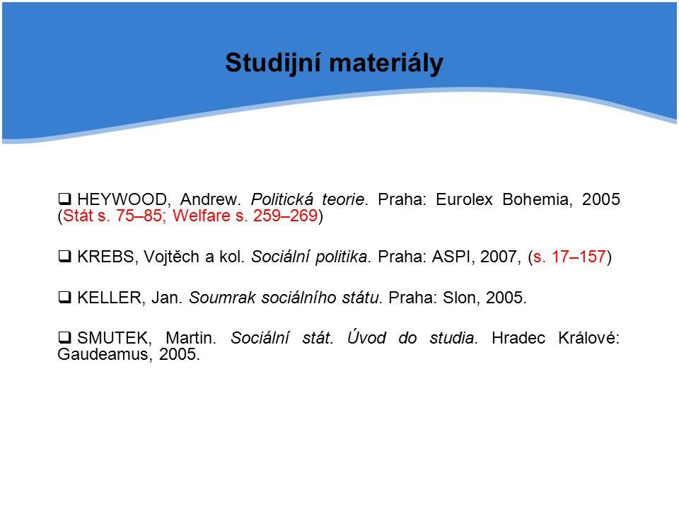 Studijní materiály  HEYWOOD, Andrew. Politická teorie.