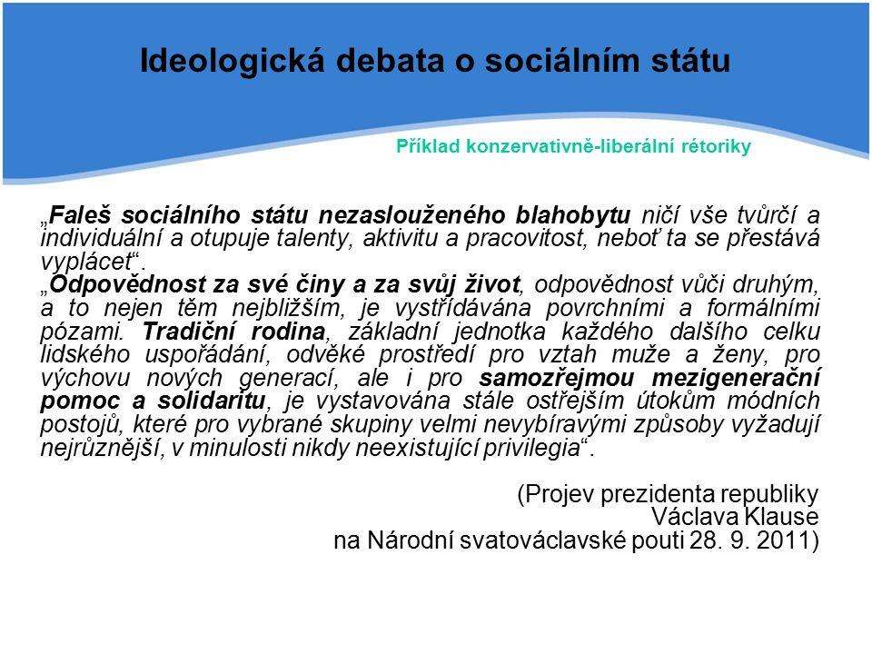 """Ideologická debata o sociálním státu """"Faleš sociálního státu nezaslouženého blahobytu ničí vše tvůrčí a individuální a otupuje talenty, aktivitu a pracovitost, neboť ta se přestává vyplácet ."""