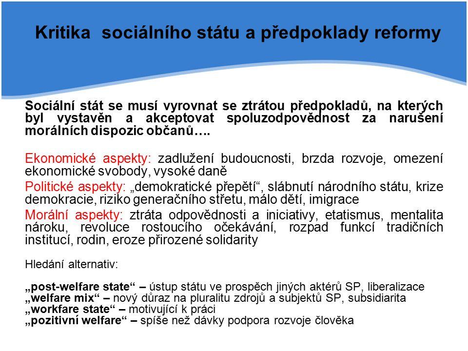 Kritika sociálního státu a předpoklady reformy Sociální stát se musí vyrovnat se ztrátou předpokladů, na kterých byl vystavěn a akceptovat spoluzodpovědnost za narušení morálních dispozic občanů….