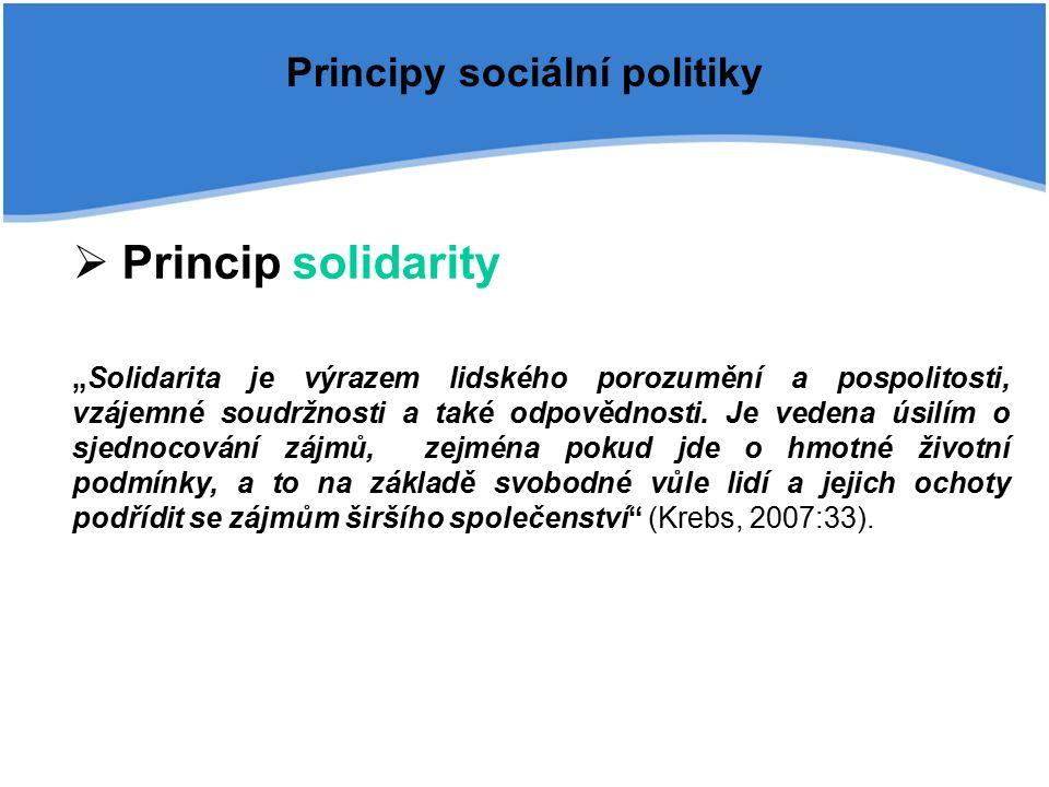 """Principy sociální politiky  Princip solidarity """"Solidarita je výrazem lidského porozumění a pospolitosti, vzájemné soudržnosti a také odpovědnosti."""
