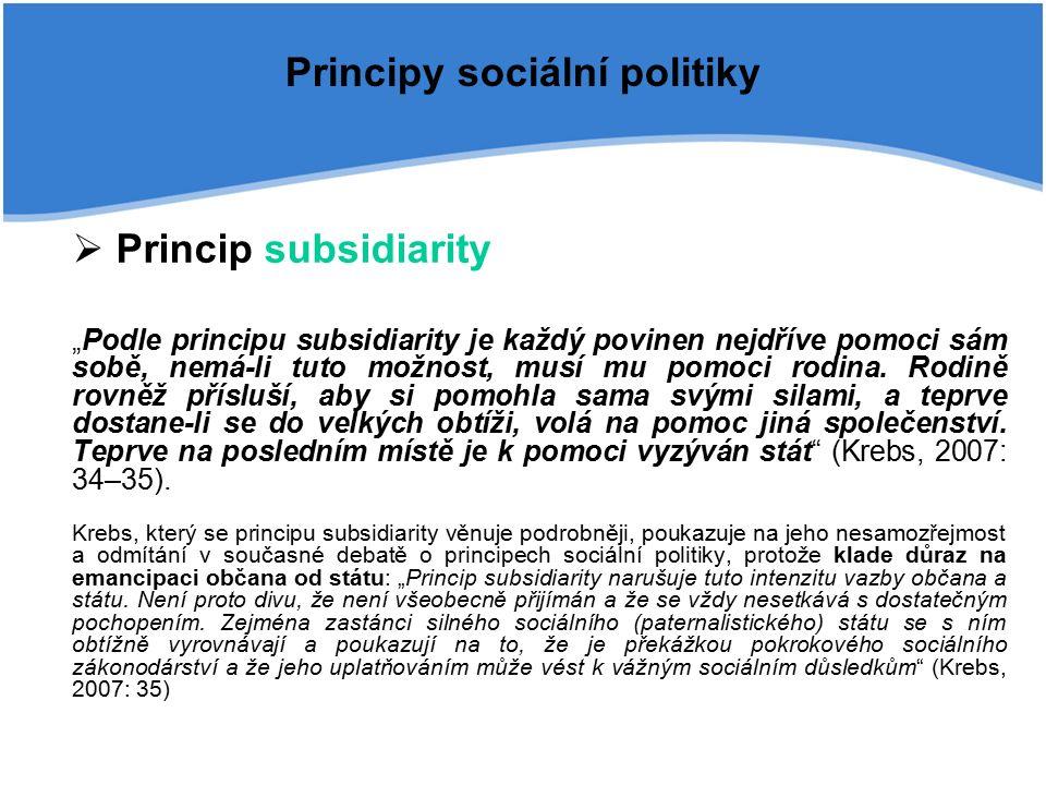 """Principy sociální politiky  Princip subsidiarity """"Podle principu subsidiarity je každý povinen nejdříve pomoci sám sobě, nemá-li tuto možnost, musí mu pomoci rodina."""
