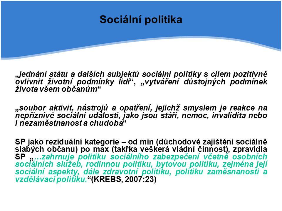 Aktéři sociální politiky Objekty sociální politiky: jednotlivci, rodiny, sociální skupiny (nezaměstnaní, důchodci, děti) OBČAN – objekt i subjekt Subjekty sociální politiky (pluralita subjektů, welfare mix):  stát a jeho instituce – hlavním subjektem, ať již jako konceptor (legislativa, pravidla), či jako vykonavatel (poskytování pomoci, přerozdělování)  zaměstnavatelé a firmy (zaměstnanecká politika)  neziskové organizace  rodiny a domácnosti  obce  církve  odbory  svépomocná sdružení  mezinárodní organizace