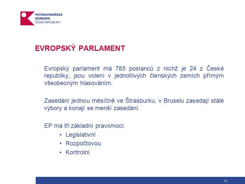 11 EVROPSKÝ PARLAMENT Evropský parlament má 785 poslanců z nichž je 24 z České republiky, jsou voleni v jednotlivých členských zemích přímým všeobecným hlasováním.